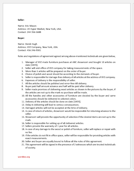 Office furniture purchase agreement