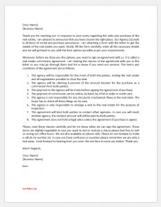 Real Estate Commission Agreement Letter
