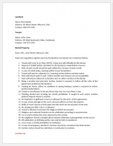 Room rental agreement template for word