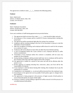 Staff training agreement template for Word